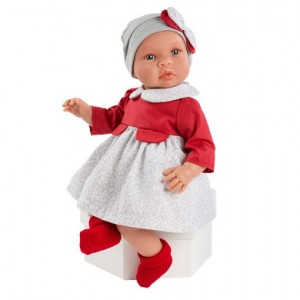 Muñeca Leo con vestido y gorrito
